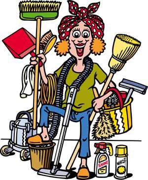 Clip-art image of a person with lots of cleaning supplies.