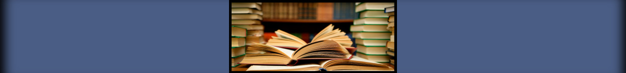 Banner photo of stacks of library books.