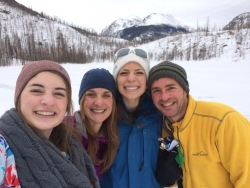 Pastor Mark Quist and family at Cub Lake in RMNP in winter.